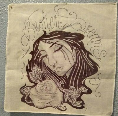 "Prison Artwork Inmate Art One Of A Kind Ink On Cloth ""Broken Dreams"" Sighned"