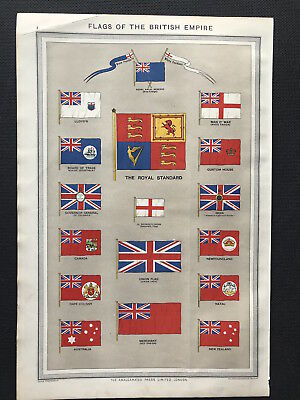 Antique Print FLAGS OF THE BRITISH EMPIRE Harmsworth Atlas 1906 Orig litho color