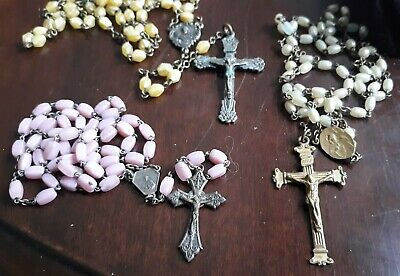 Vintage Antique Catholic Rosary Rosaries Lot Of Three Pink And Cream Mop
