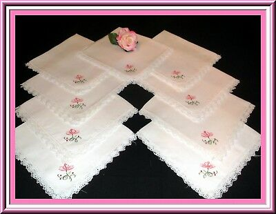 Fabulous Set Of 9 Vintage H. Embroidered Linen Napkin S With Filet Lace Trim