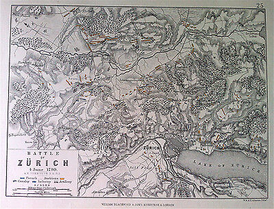 Military Map Plan Battle of ZURICH c1799 original engraved by A K JOHNSTON c1875