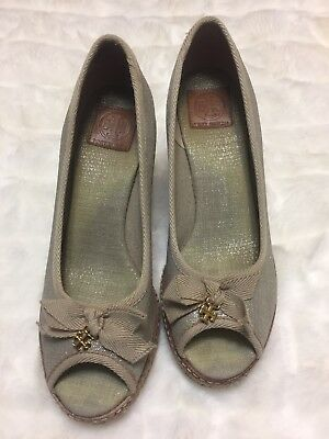 a43d741bca3 8.5 Tory Burch Jackie Espadrille Wedge Heel Peep Toe Shoes - Gold Natural