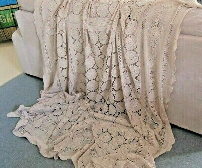 HUGE Vintage Beige Crochet Tablecloth or QS Bedspread 245cm x 224cm