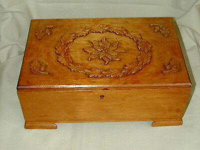 "Hand Carved Wooden Jewelry/Trinket Box w/Poinsettia & Oak Leaves  11""x7-1/4""x4"""