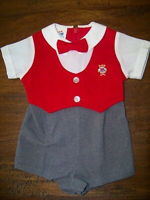 Vintage baby boy one-piece shorts shirt vest tie outfit size 9-12 mo.