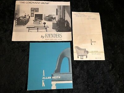 3 Mid Century Modern vintage catalogs : Founders and Allan Keith plus letter