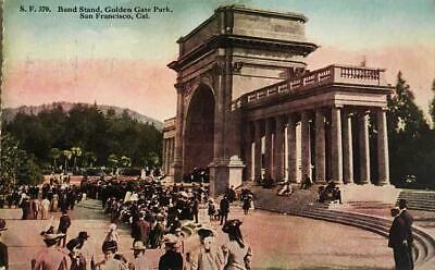 1916 postcard - Band Stand Golden Gate Park SAN FRANCISCO CA - small crowd!!