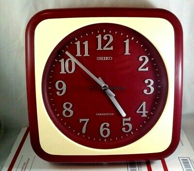 Vintage SEIKO Transistor Wall Hanging Clock Model ETX-663 Red and White Japan