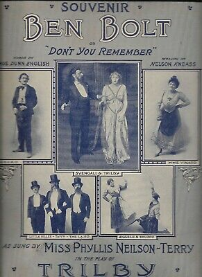 1915 Souvenir Sheet Music BEN BOLT TRILBY Broadway SHUBERT THEATRE Neilson Terry
