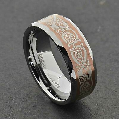 8mm Tungsten Brush Top Facet Edge Band Dragon Celtic Scroll Wedding Band