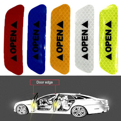 NEW 4PCS Super Car Door Open Sticker Reflective Tape Safety Warning Decal