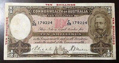 Australian R10 1934 KGV RIDDLE SHEEHAN - 10 Shillings with Red Overprint