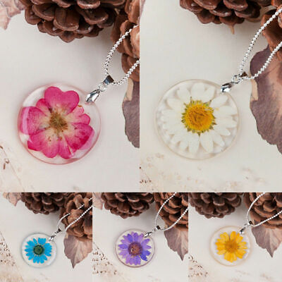 Transparent Resin Dried Daisy Flower Pendant Necklace Chain Fashion Jewelry Gift