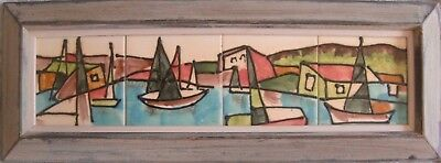 Harris Strong MidCentury Modern Hand Painted 4 Tile Art #433 Lake with Sailboats