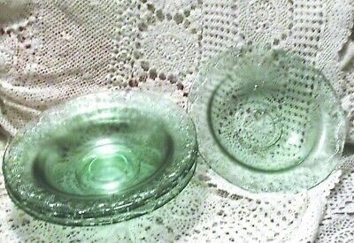 Pretty Large Green Glass Floral Rims Soup Cereal Or Pasta Bowls Set 4
