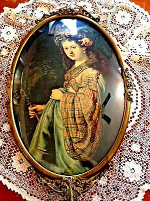 Flora By Rembrandt Print In Antique Ornate Oval Frame With Convex Glass 14 X 23