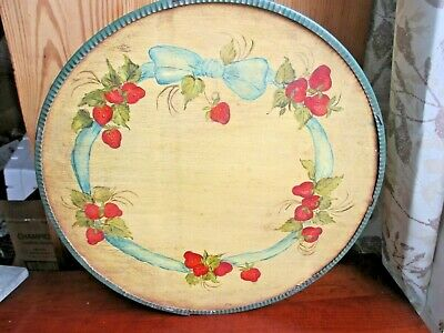 Antique 1920's Pantry Cheese Box OAK Hand Painted Wall Paper Lined Strawberries