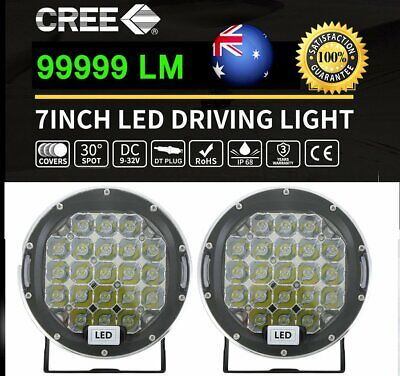 7inch 99999W CREE Round LED Driving Lights Black SPOT Work Offroad 4x4 Truck G