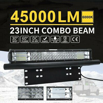 23 Inch Tri-row LED Light Bar Driving Off-road Lights With Number Plate Frame