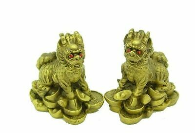 Chinese Brass Wealth Yuanbao Dragon kylin Kirin Chi-Lin Kilin Qilin Pair KeiLoon