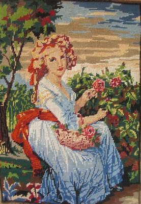 vintage completed cotton needlepoint tapestry of girl picking flowers 19.5x13.5""
