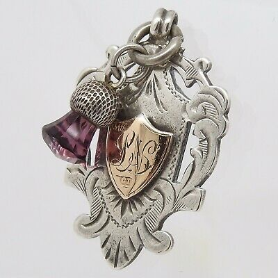 Antique Sterling Silver And 9ct Gold Fob And Thistle c.1911