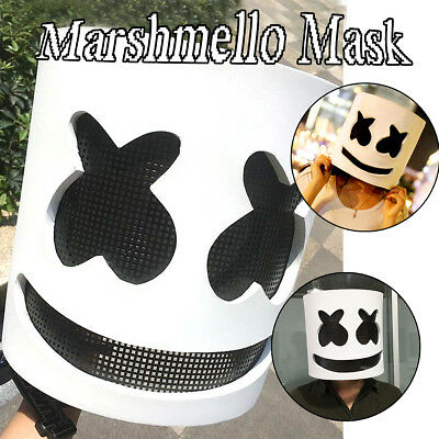 DJ Marshmello Maske Cosplay Kostüm Helm Kopf Halloween Party Props Requisiten DE