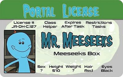 Rick and Morty MR MEESEEKS plastic collectors ID card Drivers License Adult Swim
