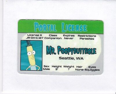 Mr Poopybutthole of The Rick and Morty show fake I.D. id card Drivers License