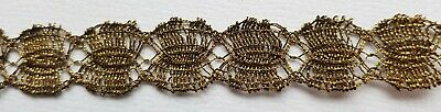 Vintage Gold Metallic Lace Trim Double Scallop Dark Patina Three Pieces French