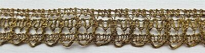 """Vintage Gold Metallic Lace Trim Open Weave Warm Patina 1 Yrd 4"""" French"""