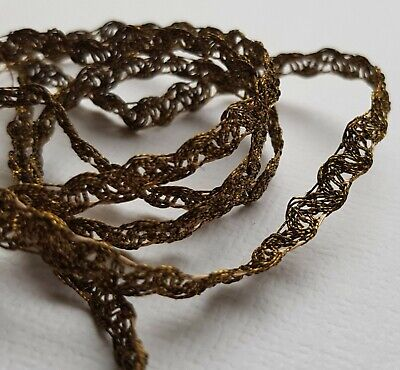 "Vintage Gold Metallic Lace Trim Silk Thread Accent 1/4"" Wide Drk Patina French"