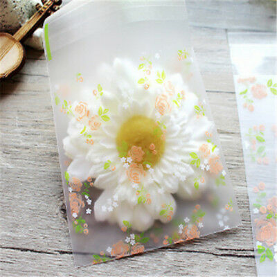 100Pcs Rose Flower Self Adhesive Cookie Bag Plastic Cellophane Candy Gift Bag MN