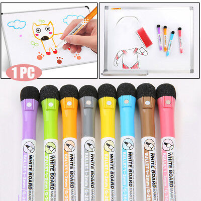 8 Colors Magnetic White Board Marker Pens With Dry Erase Eraser School Supplies