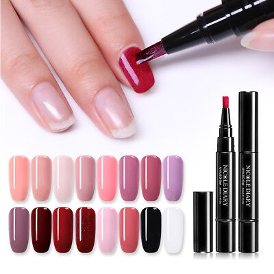 24 Colors NICOLE DIARY 3-in-1 One Step UV Gel Varnish Pen Glitter Nail Gels DIY