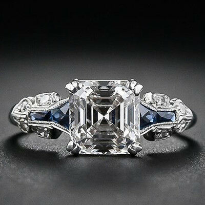 Vintage Faux Sapphire Ring Simulated Square Faux Diamond  Ring For Women MN