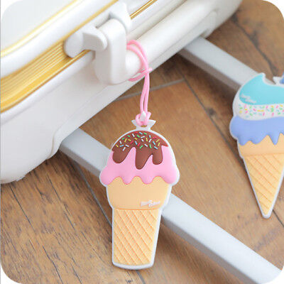 Travel Luggage Baggage School Tag Tags Ice Cream Shape Suitcase Bag MN