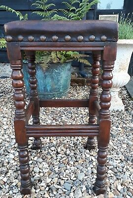 lovely Oak victorian joint stool with leather top
