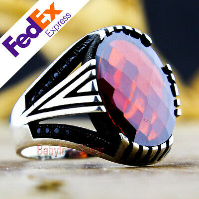 925 Sterling Silver Faceted Ruby Stone Turkish Handmade Men's Ring All Sizes