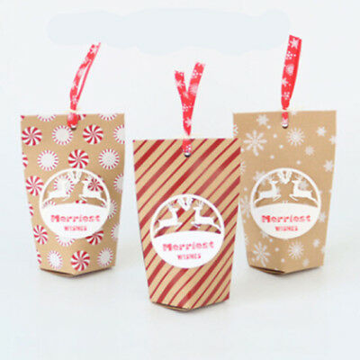 24 Pcs Vintage Paper Cookies Bag Xmas Christmas Candy Wedding Party Gift MN