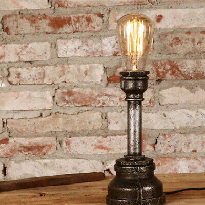 Industrial Single Light Vintage Rust Finished Metal Pipe Table Lamp for Bar/Bed