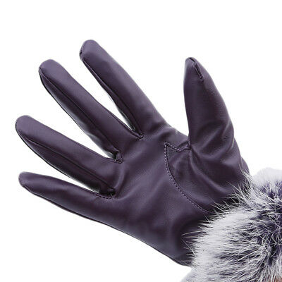 Fashion Warmer Pu Leather Gloves Women Thickness Winter Mittens Luxury MN