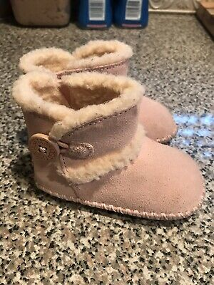 4d3cfc19a31 BABY GIRL'S UGG Australia I Lemmy Pink Suede w/Shearling Boots Size 2/3