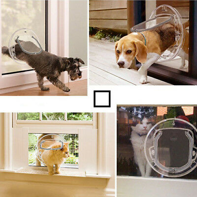 Transcat Dog Door Cat Flap Glass Fitting 4 Way Locking Clear Two
