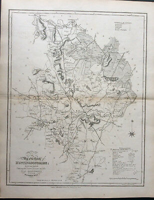 100% Original County Map of HUNTINGDONSHIRE c1838 by Ebden & J Duncan, Scarce