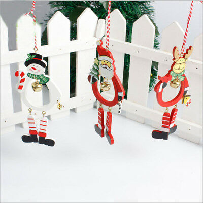 Lovely Snowman Christmas Wooden Pendants Ornaments DIY Wood Crafts Xmas MN