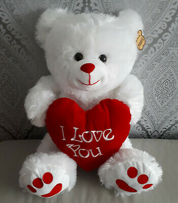 """White Cute Teddy Bear 10"""" I Love You Valentines Day Gift Red Heart Mother Day"""