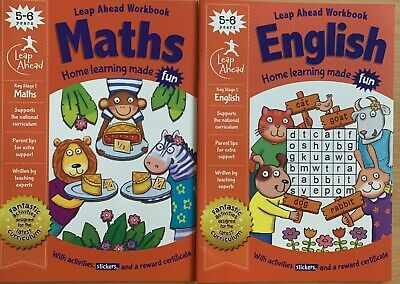 Leap Ahead English And Maths Workbook Children Age 5-6 KS1 NEW Latest