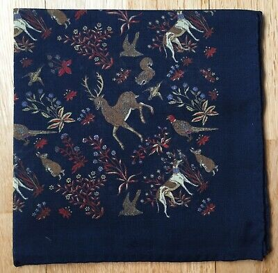 Navy blue wool & silk Pocket Square Deer, Pheasant Woodland animals Hand rolled