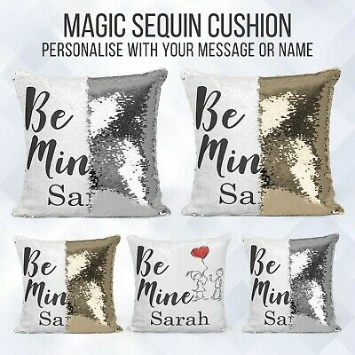 Personalised Sequin Cushion   Magic Valentine Text Reveal   Pillow Case & Insert